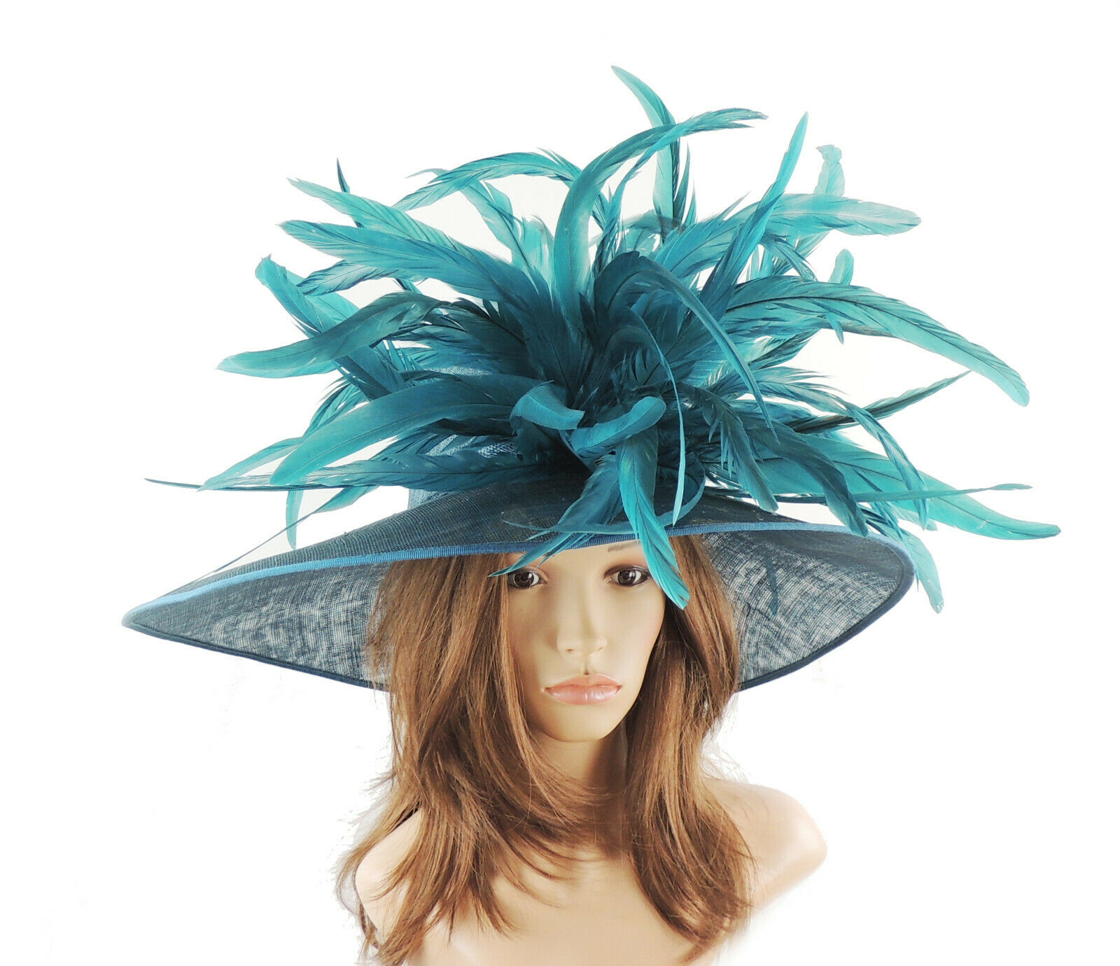 Teal Large Ascot Hat for Weddings, Ascot, Melbourne Cup HW2