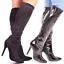 Stretch Tall Boots Black High Heel Slim Fitting Fashion Ladies Women Size 3-8