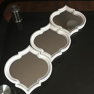Set Of 3 White Moroccan Art Deco Arched Wall Mirrors Wall
