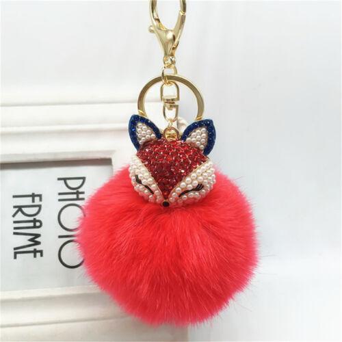 Fox Keyring KeyChain Pearl Rhinestone Ball PomPom Key Ring Chain Bag Pendant HGU