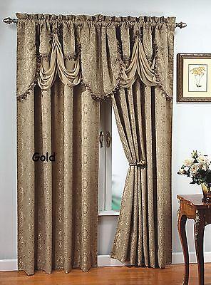 """Luxury, PORTOFINO window curtain: jacquard Panel  84"""" long OR fringed valance,"""