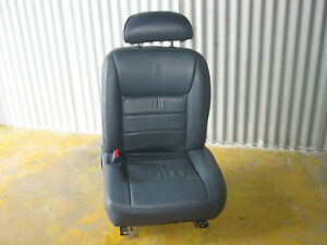 LINCOLN-TOWN-CAR-DRIVER-SEAT-CHARCOAL-BLUE-LEATHER-LUMBAR-AIRBAGS-POWER-TRACK