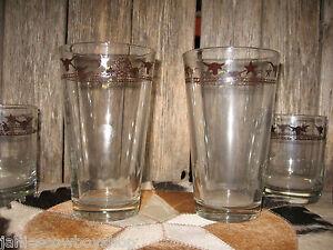 Western-Decor-Glassware-Longhorn-Star-Rope-Glasses-20-Oz-Set-4-USA-Glasses