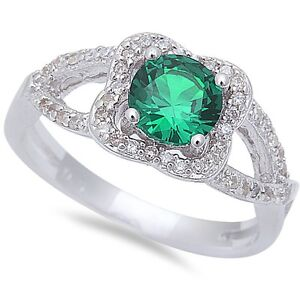 Halo-Style-Green-Emerald-amp-Cz-925-Sterling-Silver-Ring-Sizes-6-9