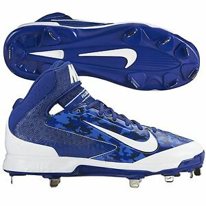 d0a08ad1eff32 Nike Huarache Pro Mid Metal Men s Baseball Cleats Blue Camo White ...