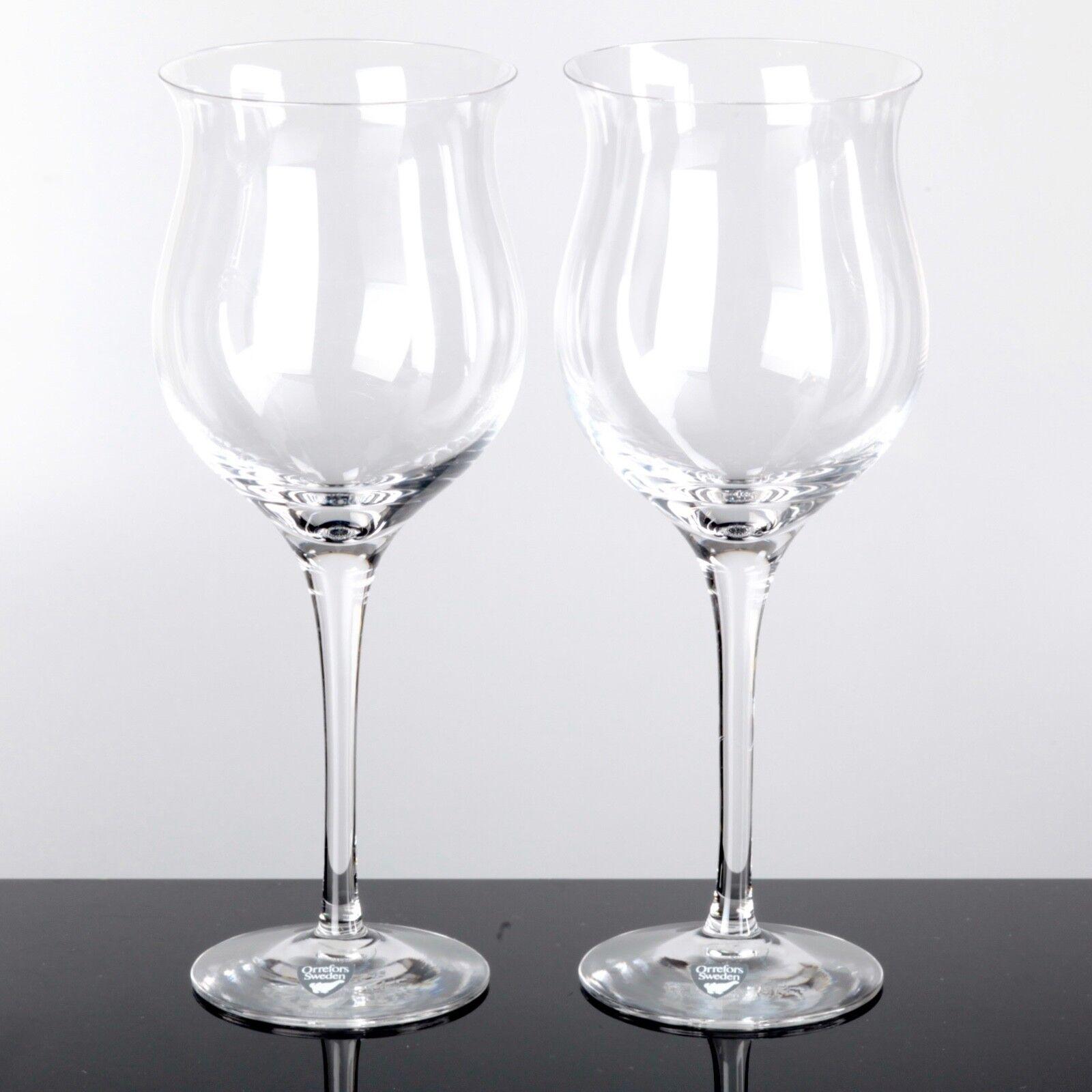 2 Rotweingläser Weingläser Orrefors Sweden LISA Gläser 20,5 cm