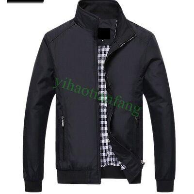 Mens Zipper Casual Short Coat Jacket Outdoor Stand Collar Autumn Spring M-6XL