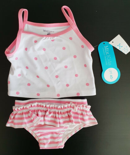 BNWT Girls Sz 000 Cute Candy Pink White 2 Piece Swim Suit Set UPF 40+