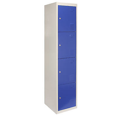 Steel Lockers 4 Doors Metal Staff Storage Lockable Gym Changing Room School Blue