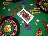 Jackpot - Gambling, Dice, Roulette Wheel, Chips, Cotton Fabric, Sold By 1/2 Yard