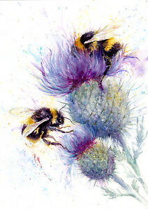 Bees watercolour, print of original painting A3 size on watercolour ...