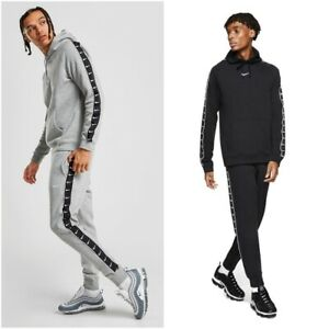 Nike-Mens-Taped-Swoosh-Full-Tracksuit-Fleece-Overhead-Tracksuit-Set-S-M-L-XL