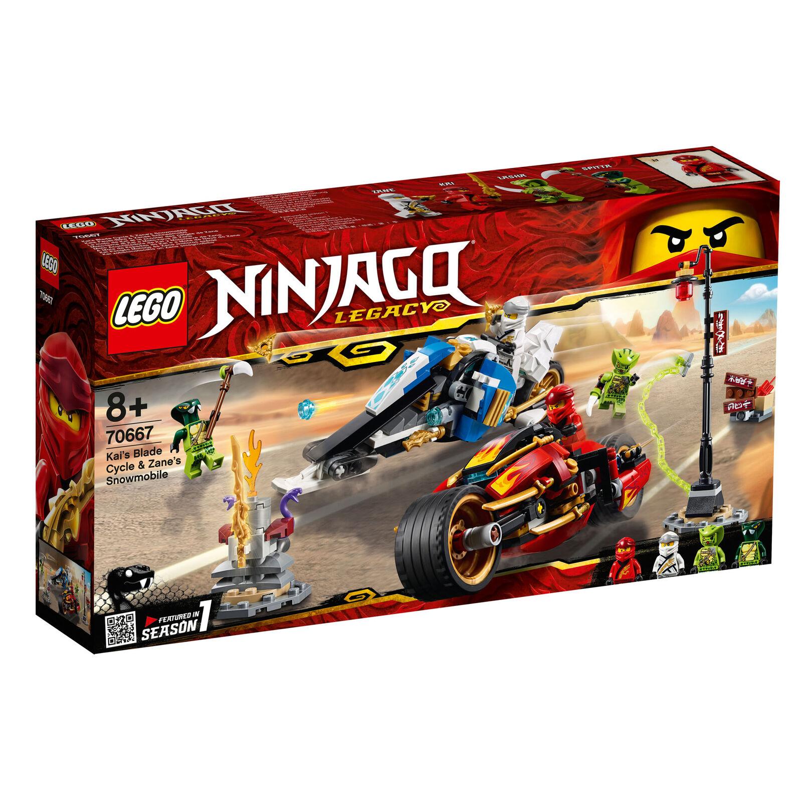 70667 LEGO Ninjago Kai's Blade Cycle & Zane's Snowmobile 376 Pieces Age 8+ 2019