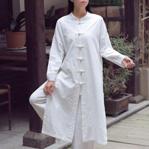 Women Linen Cotton Long Coat Jacket Chinese Kungfu Taichi Casual Top Frog Button