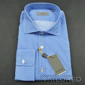 NWT-CANALI-1934-Recent-Blue-Polka-Dot-100-Cotton-Casual-Dress-Shirt-SMALL