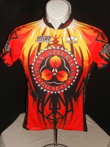 VOLER RED/BLACK/YELLOW SWISS/AMERICAN BICYCLE FULL ZIP S/S JERSEY SZ. XS