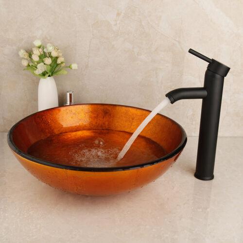 Bathroom Round Vessel Sink Set Basin Tempered Glass Bowl W// Black  Faucets