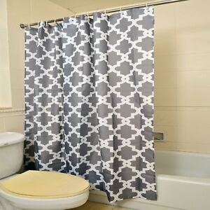 Image Is Loading Gray 100 Polyester Waterproof Moroccan Print Shower Curtain