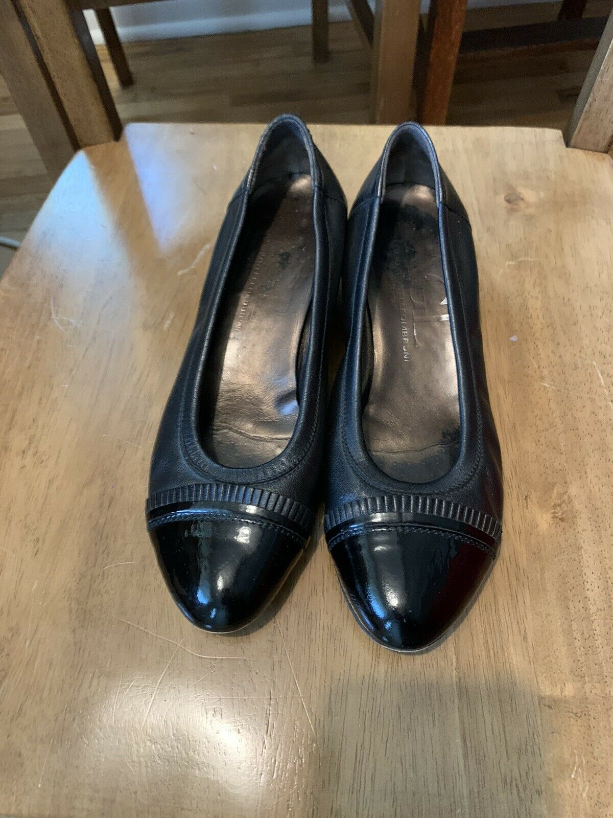 AGL Black Leather Pumps Made In Italy Size 8.5 (38.5 EU)