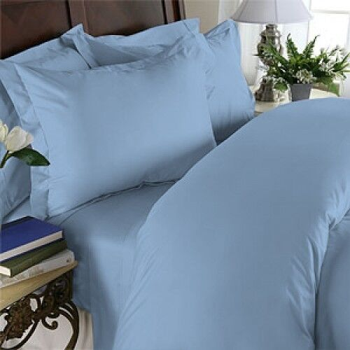 1000 Thread Count Egyptian Cotton 1000 TC Bed Sheet Set SPLIT KING Blau Solid