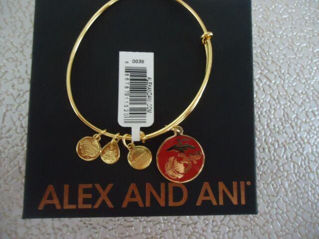 Alex and Ani US MARINE CORPS Shiny Gold Finish Bangle New W/ Tag Card & Box