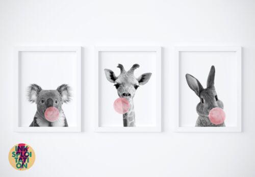 Set of 3 Bubblegum Peekaboo Animal Prints or Canvas