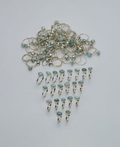 WHOLESALE 101PC 925 SOLID STERLING SILVER BLUE LARIMAR RING LOT Q456