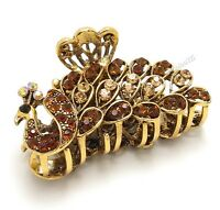 Elegant Brown Crystal Bronze Metal Alloy Peacock Hair Claws Clip Fashion Jewelry