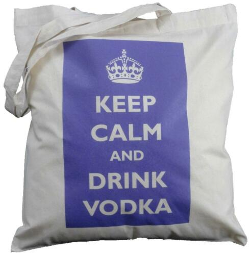 PURPLE - NATURAL COTTON SHOULDER BAG KEEP CALM AND DRINK VODKA Tote,shopping