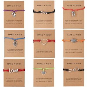 Wish-String-Charm-Adjustable-Bracelet-039-Make-A-Wish-039-Friendship-Heart-Gift-Card