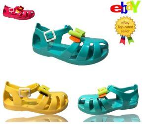 Childrens Jelly Shoes Girls Summer Beach Water Sandals Glitter Plain Flip Flops