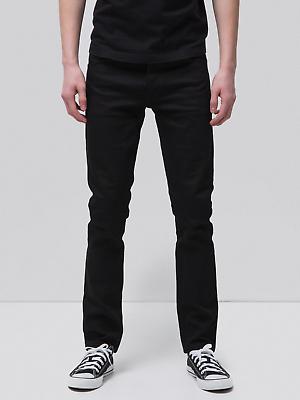 B-ware | Nudie Uomo Slim Fit Jeans | Fara Tim Dry Black Selvage | W28 L30-mostra Il Titolo Originale