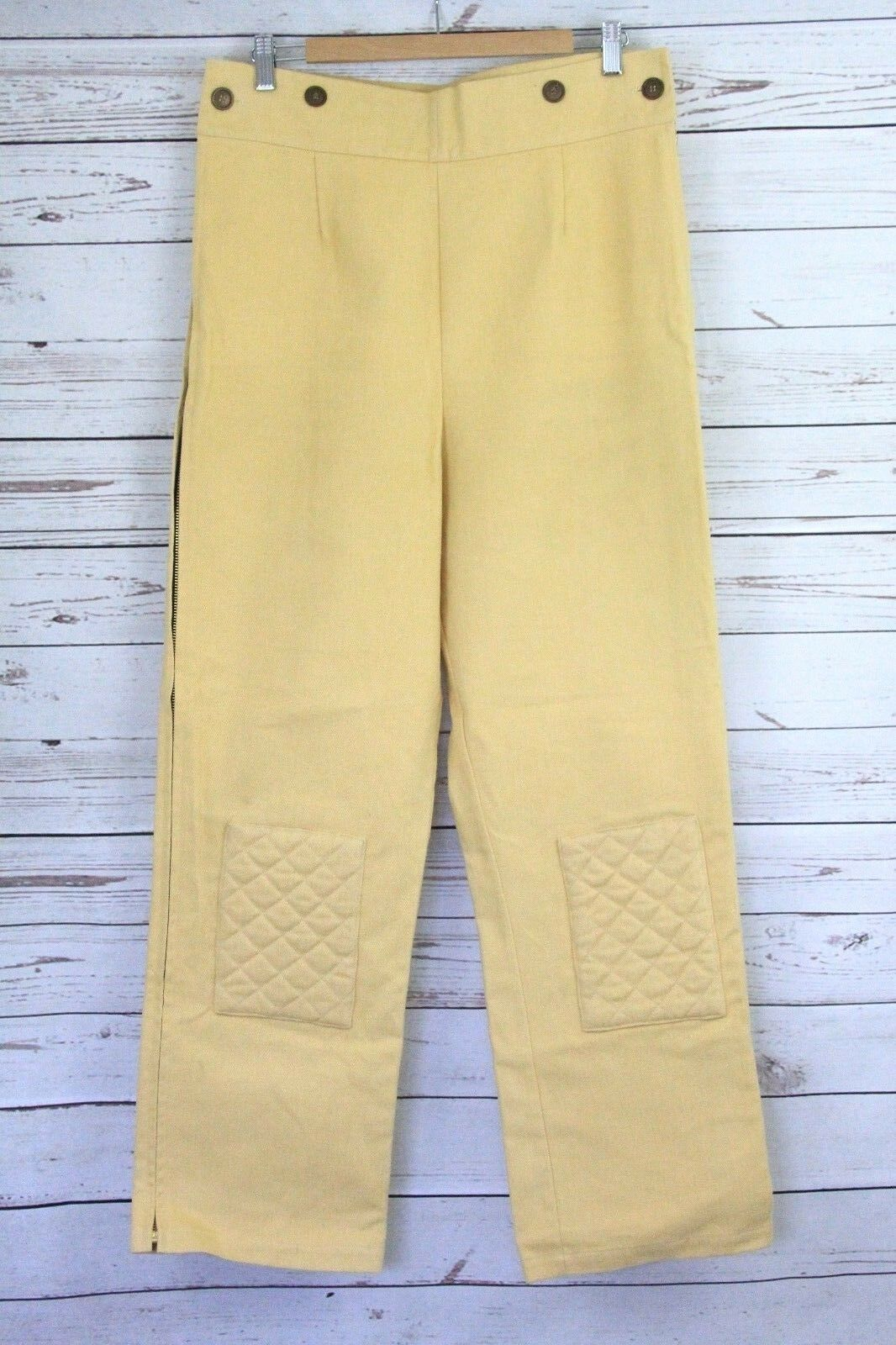 O'Halloran Vintage High Waist Riding Pants W  Side Zips Knee Pad L