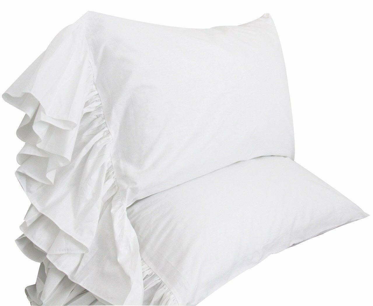 Queen's House White Ruffles Bed Sheets Set Cotton Queen Size Sheets-Style G