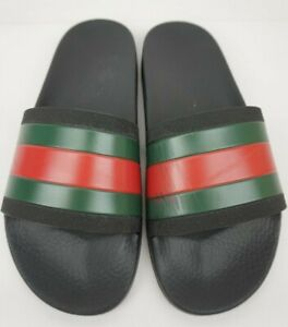 d231f6c69c2 Image is loading Gucci-Pursuit-Rubber-Slide-Black-Sandal-Men-039-