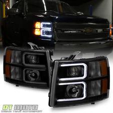 Blk Smoke 2007-2013 Chevy Silverado 1500 2500 LED DRL Tube Projector Headlights