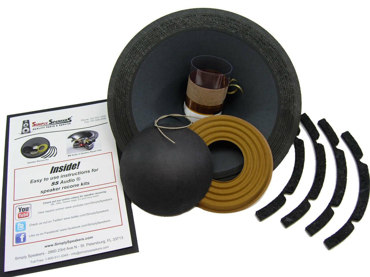 SS Audio Recone Kit for 10  Eden 2x10XL, 4X10XL, PAS BG1080C, 8 Ohms, RK-SWR10