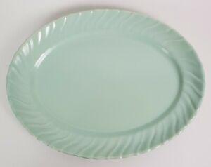 "Franciscan Coronado Oval Serving Platter Aqua Blue Matte 13 1/4"" Made in Cal USA"