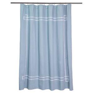 Image Is Loading Fieldcrest Shower Curtain Aqua White Ribbon Border Stripe