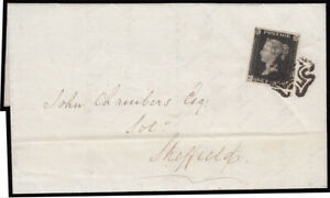 SG2 1840 1d. Black plate 9, CG, on neat cover, London to Sheffield, neatly ca...