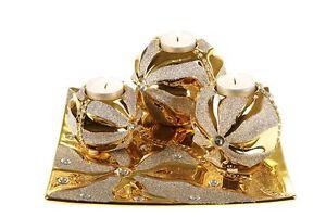 Wohnzimmer deko gold  Teelichter 4 tlg. Kerzen Kerzenhalter Dekoration Gold Wohnzimmer ...
