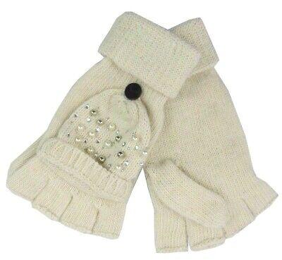 Women Magic Faux Fur Convertible Gloves w//Mitten Cover Winter Fingerless Gloves