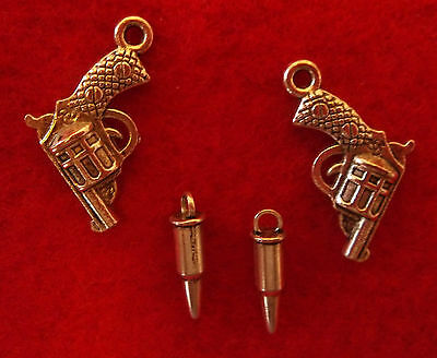Lot of 4 Silver Lil Guns & Bullets Charms Zinc Alloy Metal Lead & Nickel Free
