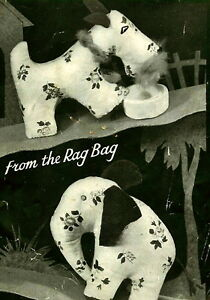 Vintage-1940s-rag-bag-elephant-scottie-dog-toy-sewing-pattern-paper-pieces