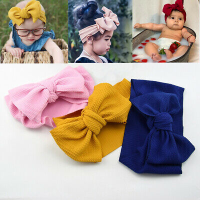 Newborn Baby Rabbit Headband Striped Soft Hat Cotton Elastic Bowknot Hair Band