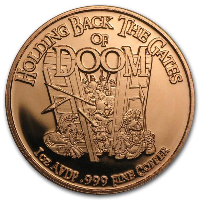 Gates Of Doom 1 oz .999 Copper BU Round Limited USA Made American Bullion Coin