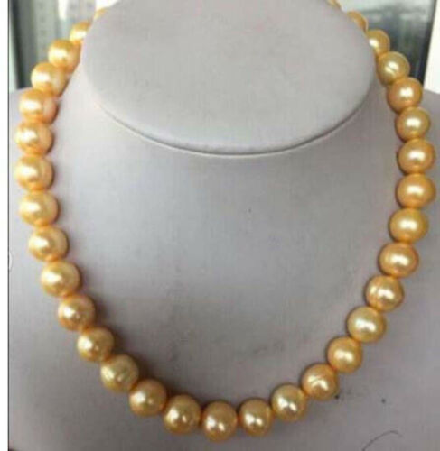 """Huge 9-10MM beautiful South Sea cultured gold pearl necklace 18/"""" 14K Buckle"""