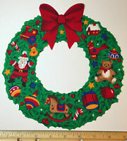 Christmas Wreath Fabric Applique Santa Toys Bright Rare Deck The Halls V.i.p.