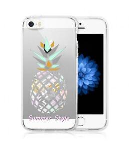 Détails sur Coque Iphone 5 5S SE ananas aztec summer tropical exotique transparente