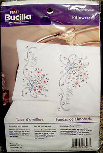 Bucilla-His-Hers-Floral-Pillowcases-Special-Edition-Embroidery-Stamped